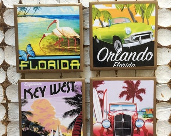 COASTERS! Travel Florida vintage travel poster coasters with gold trim