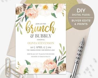 Brunch and Bubbly Bridal Shower Invitation - DIY Template, Boho Floral Bridal Brunch Invitation, Instant Download, Printable Invitation