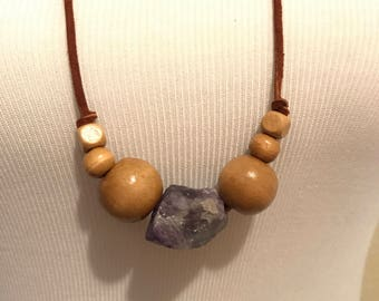 Long Amethyst and Wood Bead Necklace on Leather Cord