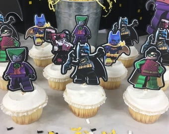 12 Lego Batman Cupcake Toppers