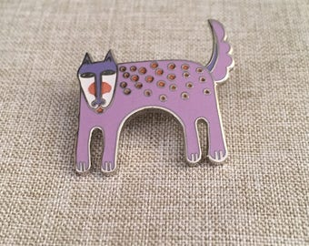 "Laurel Burch Vintage Silver Tone Lavender Brooch Named ""BABY"""
