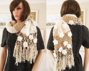 Hand Knitted scarf Long brown and cream fluffy scarf Hand knitted scarf hand crochet flowers Long hand knit scarf Long fluffy scarf