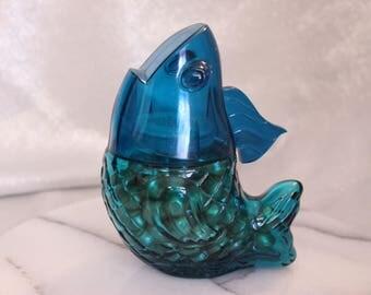 Vintage Avon Sonnet Emollient Bath Pearls Teal Fish Bottle Glass bottom Plastic top