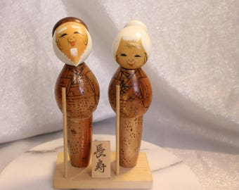 Beautiful Vintage Kokeshi Doll Couple Two Dolls Male and Female Grandma and Grampa