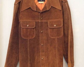 1970s Mens Suede Leather Jacket Chestnut Colored Trailmaster 46