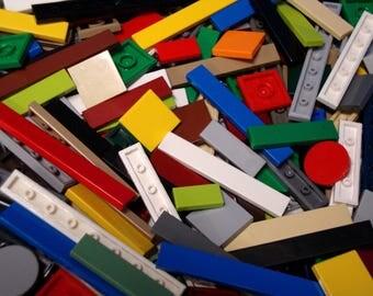 100 Lego Tiles / Finishing Plates - Assorted sizes & colors - Smooth Thin Flat Legos