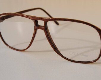 vintage lunettes CARBO LINE 54-14 marbled brown double bridge light aviator sun/eyeglasses frame made in Italy New