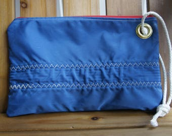 Recycled-Sail Wristlet, Clutch, Nautical Accessories, Womens Accessories, Beach Bag, Blue Bag