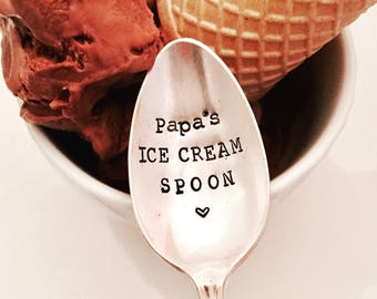 Papa's Ice Cream Spoon, Dad's icecream spoon, Father's Day gft, stamped spoon created by The Paper Spoon