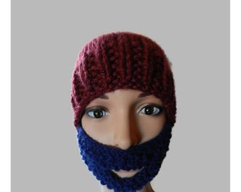 Hand Knitted Child Youth Beanie Hat with Beard V5508