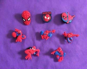 8-pc Spiderman Shoe Charms for Crocs, Silicone Bracelet Charms, Party Favors, Jibbitz