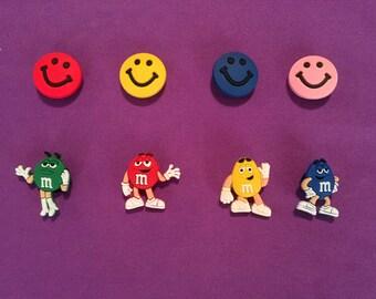 8-pc M&M's / smiley faces Shoe Charms for Crocs, Silicone Bracelet Charms, Party Favors, Jibbitz