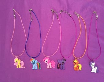 6 My Little Pony PVC Kids Necklaces or Keychains, Party Favors