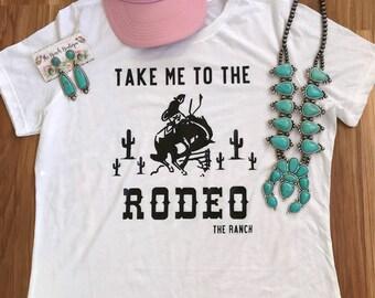 Take me to the RODEO White tee