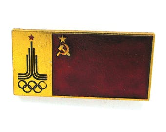 Sign of Olympic Games, Badge, Soviet red flag, Moscow 1980, Olympic, Sport, Vintage metal collectible badge, Soviet Pin, Made in USSR, 1980