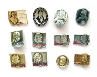 Ukrainian Poets and Writers, Badge, Pick from Set, Literature, Vintage collectible badge, Soviet Vintage Pin, Soviet Union, Made in USSR