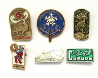 Reindeer, Russian North, Soviet vintage badges, Pick your pin, Siberia, Deer, Vintage collectible badge, Soviet Union, USSR, 1980s