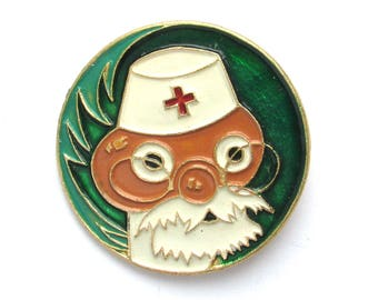 Doctor Aibolit, Children's badge, Cartoon Character, Vintage collectible badge, Soviet Vintage Pin, Soviet Union, Made in USSR, 1980s