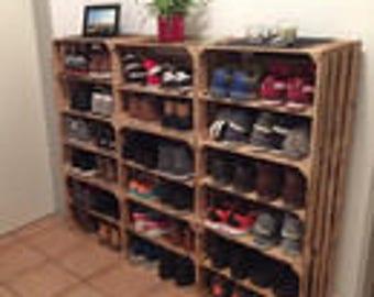 100yr old barn wood vintage fruit crates 20 crate credenza. Black Bedroom Furniture Sets. Home Design Ideas