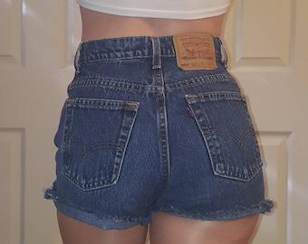 HIGH WAIST LEVI'S Vintage Jean Denim Shorts Destroyed Distressed Frayed All Sizes 24 25 26 27 28 29 30 31 32 33 34 35 36 37 Authentic Dark