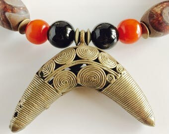 Africa Inspired Black and Brass Statement Necklace
