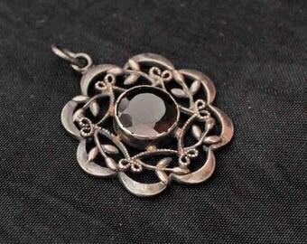 Vintage Silver Edwardian Garnet  Pendant