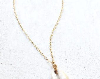 Cowrie Shell Necklace, Cowrie Pendant, Single Shell Necklace