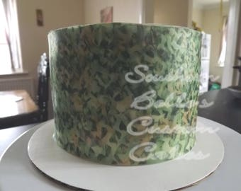 Edible Camo Netting Cake Wrap/Sheet Cake Topper-Edible Camo Cake, Cookies-edible cake decorations-edible image-personalized party cake