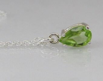 Peridot Necklace, Arizona Peridot, 8x5mm Natural Peridot, 925 Sterling Silver, Gemstone Pendant, August Birthstone Jewelry, Green Necklace