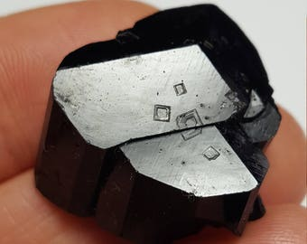 Lustrous Black Tourmaline, Erongo Namibia... Terminated Crystals with Smooth Mirrored Surface and Interesting Square Keys- 13 Grams