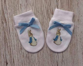 Peter Rabbit inspired Baby Scratch Mitts
