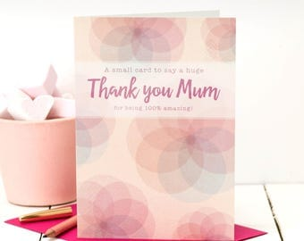 Thank You Mum Card; Love You Mom Card; Card For Mom; Card For Mums; Amazing Mum Card; Mother Card; GC453