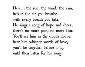 Sympathy Print Gift for Loss of Dad Father or Son - Boy - He's in the sun the wind the rain sympathy poem by Christy Ann Martine