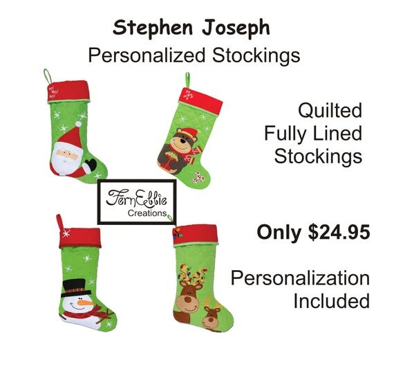 FREE PERSONALIZATION, Christmas Stockings, Personalized Stockings, Monogrammed Stockings, Stephen Joseph Christmas Stockings