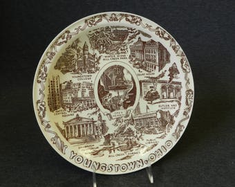Vintage Youngstown, Ohio Brown Transferware Souvenir Plate by Vernon Kilns - College, Mill Creek Park, Court House, Butler Art Institute