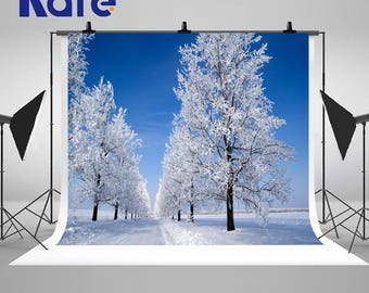 Sunny Winter Frozen Trees Photography Backdrops White Snow Road Photo Backgrounds for Beautiful Landscape Studio Props