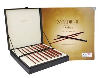 KnitPro Symfonie Rose wood crochet hook set - 20736 in elegant gift box
