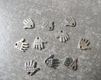 Lot 10 silver inscription hand shaped pendant charms