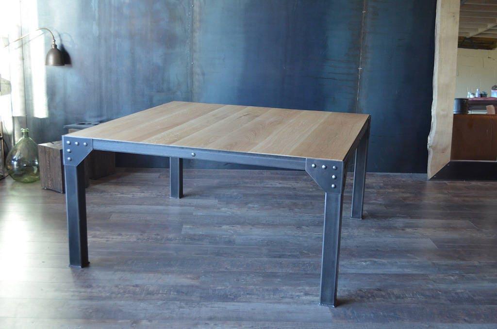 Table manger carr e 8 personnes 150x150 acier bois de style - Table de cuisine carree 8 places ...