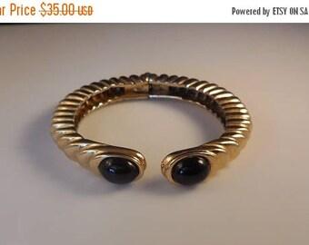 20% OFF SALE Vintage Ciner Oval Jet Black Glass Rhinestone Hinged Gold Tone Bracelet