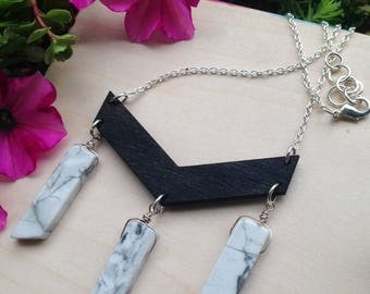 Chevron Wood Necklace with Howlite