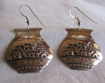 Southwest Sterling Silver Dangle Earrings