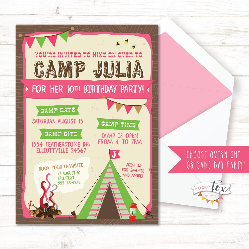 Camping Birthday Invitation Glamping Birthday Party Glamping
