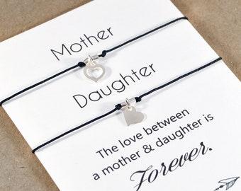 Set Of Two Heart Bracelets. Sterling Silver Wish Bracelet Set. Love Between Mother Daughter Bracelets. Mother Daughter Set. Mothers Day Gift
