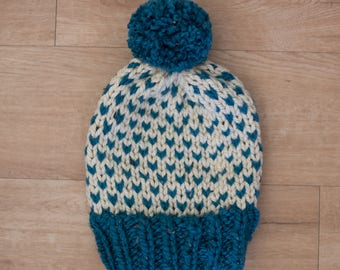 Blue Aqua + Cream Fair Isle Knit Winter Hat