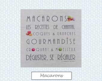 "Custom theme ""MACAROONS"" linen canvas"
