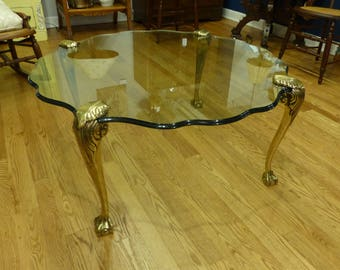 French LaBarge Style / Hollywood Regency Solid Brass and Floating Glass table