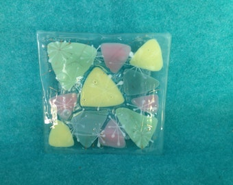 "Higgins Glass Square Bowl 7"" With Triangular Shapes"