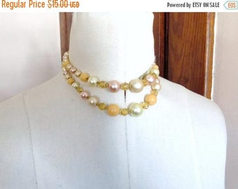 60s Two Strand Faux Pearl Beaded Necklace