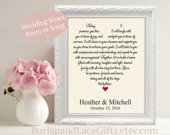 Wedding Gift, 2nd anniversary, Personalized Gift, Unique Wedding Vows Art, Song Lyrics, Print Custom Heart Love Artwork Him Her  (vow201)